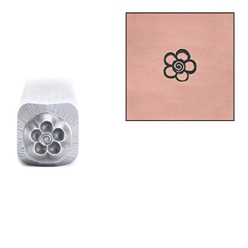 Spiral Design Stamp - Beaducation Flower Metal Stamp, 3mm Spiral Daisy Garden Punch Stamping Tool for Hand Stamped DIY Jewelry Crafts Original Metal Design Stamps