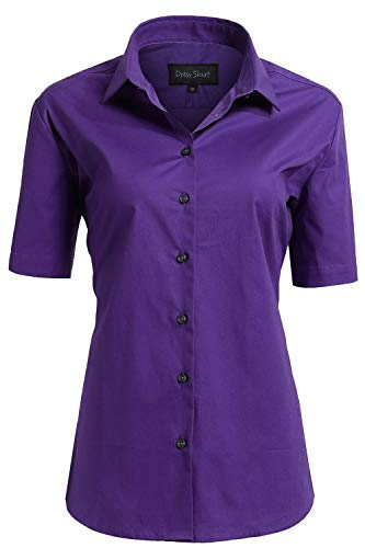 (Women's Formal Work Wear Simple Button Down Shirt Blouses Purple Shirts Size 12)