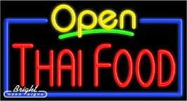 Thai Food Open Neon Sign - 20 x 37 x 3 inches - Made in USA by Bright Neon Signs