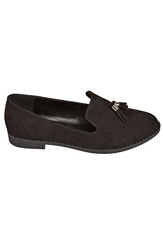 Yours Clothing Wide Fit Women's Faux Suede Slip On Loafers In True Eee Fit Black