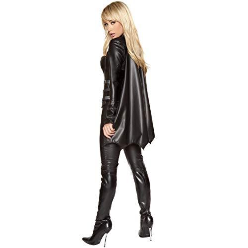 Nero Sexy Donna Pelle Xsqr Halloween Batman Mantello Black Jumpsuit Carnevale Cosplay 8xYxnEf