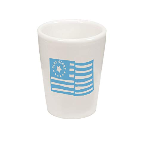- Style In Print Light Blue Old Glory American Flag Ceramic Shot Glass Cup