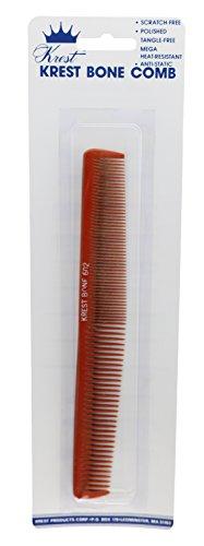 Krest 7 1/4 Inch Dual-Tapering Barber Bone hair Comb. All