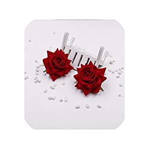 April With You 2pcs / lot (6cm / Flower) Artificial Silk Velvet Rose Home Flower Flower, DIY Wedding Brooch Gift Box,red 71