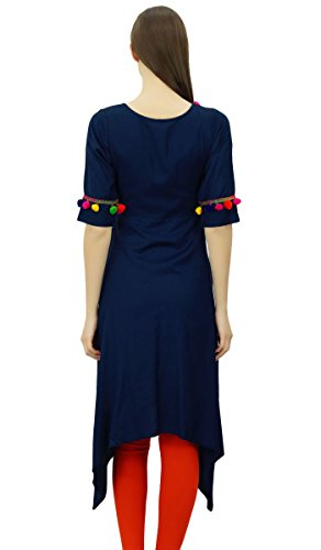 Kurta Phagun Tunique Rayon Indian Angrakha Designer Kurti Pom Femmes Pom Style Top Vtements Bleu Marin XIw4XqxEr