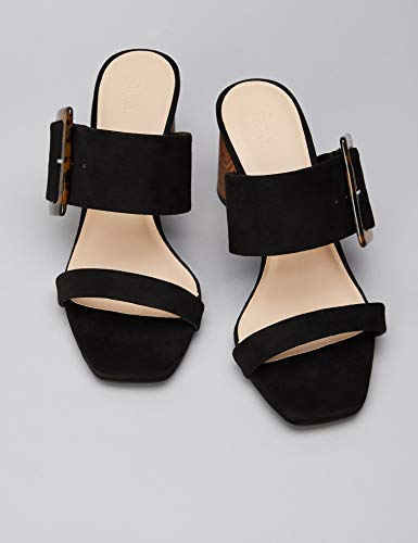 Heel Con Large Block Mujer Buckle black Find Abierta Sandal Black Sandalias Punta Negro q4tagAwA