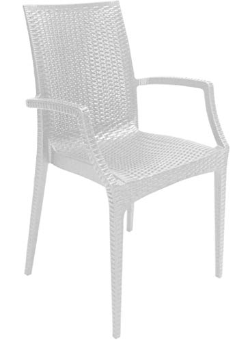 Green Boheme Grand Soleil Rattan Bistrot Indoor Outdoor Patio Dining Arm Chairs Stackable and Durable Set of 2 White