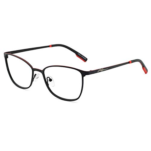 Metal Prescription Eyeglasses - OCCI CHIARI Non-Prescription Glasses Frame Fashion Metal Eyewear Women Men's Eyeglasses Clear Lense RX (Black)