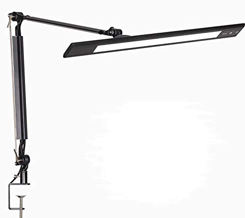 Amico 11W LED Architect Desk Lamp/Clamp Lamp/Metal Swing Arm Task Lamp (Eye-Protective, Touch Control, 4-Level Dimmer/4 Lighting Modes, Memory Function) Adjustable Drafting Work/Office Light Black