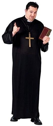 Costume Cassock Priest (Mens Black Cassock Priest Costume Robe Bishop Religious Clerical Adult Plus)