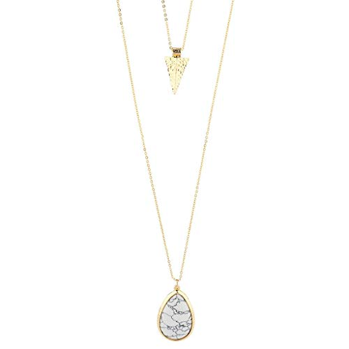 (Lux Accessories Gold Tone White Marble Stone Teardrop Arrowhead Double Layered Necklace Set)