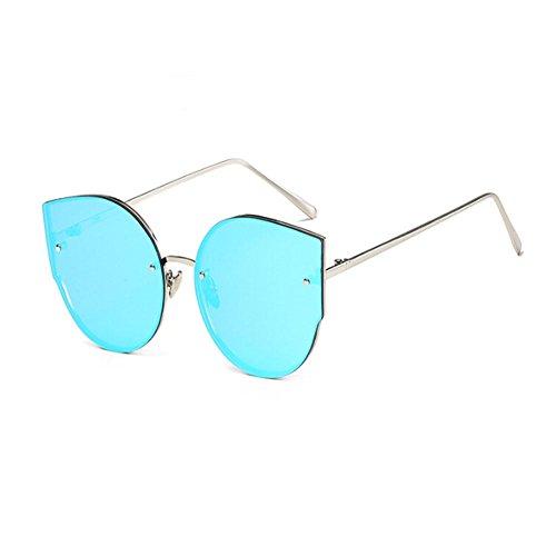 ligero Gafas Retro Clásico de Xinvision UV400 Protection Azul Marco Gafas de Plateado Ojos gato Mujer sol Moda Metal Súper XZwqw1A