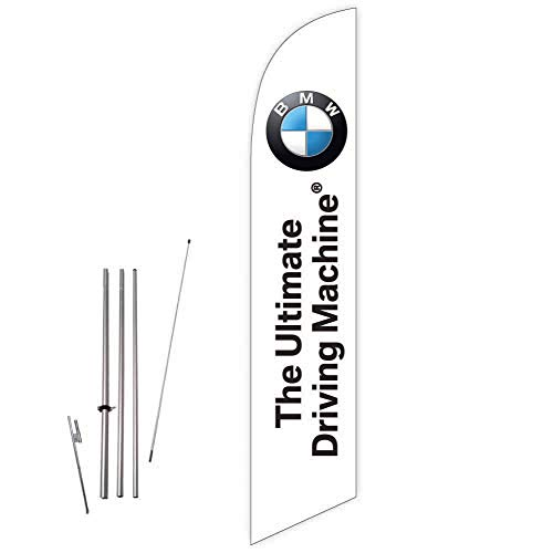 Cobb Promo Feather Flag (White) for BMW - The Ultimate Driving Machine Auto Deaership with Complete 15ft Pole kit and Ground Spike