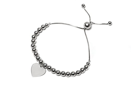 .925 Sterling Silver High Polish Ball with Dangling Heart Bolo Adjustable Bracelet (Jewelry Silver Bracelet 725 Sterling)