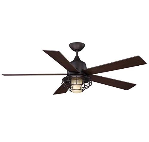 (Savoy House 52-624-5CN-13 Protruding Mount, 5 Chestnut Blades Ceiling fan with 70.8 watts light, English Bronze)