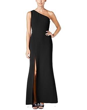 Calvin Klein Women's One Shoulder Side-Slit Gown Black 14