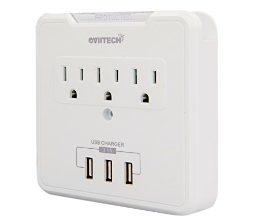 Multi Outlet Wall Mount Adapter Surge Protector with 3 High-Speed USB Charging Ports(3.1A), OviiTech Wall-Mountable Design with 3 AC Outlets
