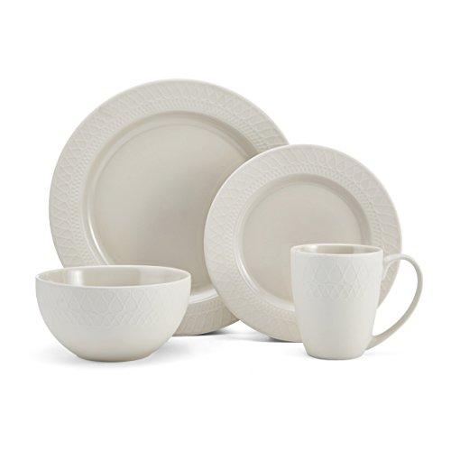 Gourmet Basics by Mikasa 5228283 Harper Dinnerware Set, 16Piece, Cream