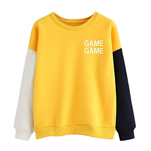 GOVOW Women Color Block Autumn Winter Long Sleeve Slogan Letter Print Cute Pullover Hoodie(US:8/CN:M,Yellow)