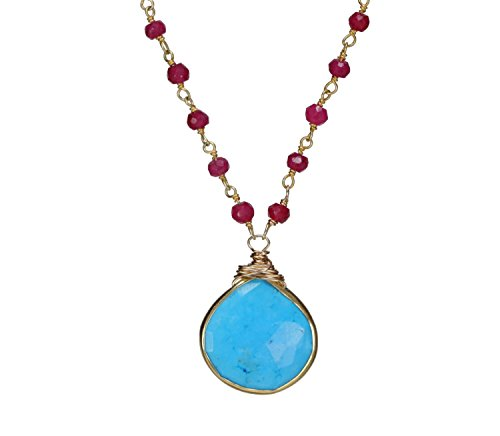 Turquoise Pendant Ruby Gemstone Gold Necklace - 17'' Length by Nadean Designs