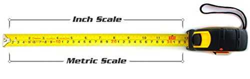 Tape Measure 26-Foot (8m) by Magnelex, Inches and Metric Measuring Tape for Construction, Home Use and DIY, Smooth Sliding Nylon Coated Ruler, Strong Belt Clip, Impact Resistant Rubber Covered Case by Magnelex (Image #2)