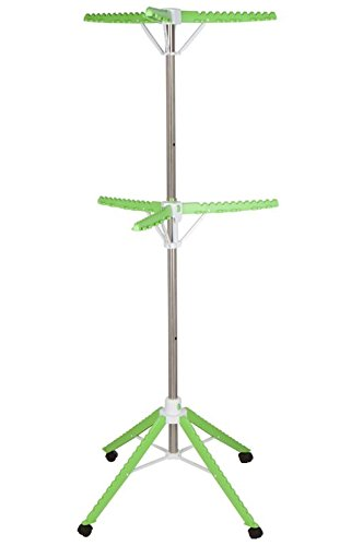 Clothes Drying Rack , 2-Tier High Capacity 60 Garments, Stainless Steel , Foldable , 4 Legs with - Floor Standing Dryer