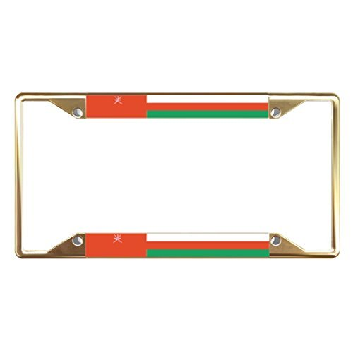 License Plate Covers Omani Flag Country Gold Metal License Plate Frame Tag Holder Four Holes