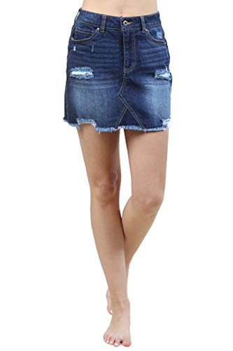 (Urban Look Women's Distressed Denim Mini Skirts (Small, A Dark)