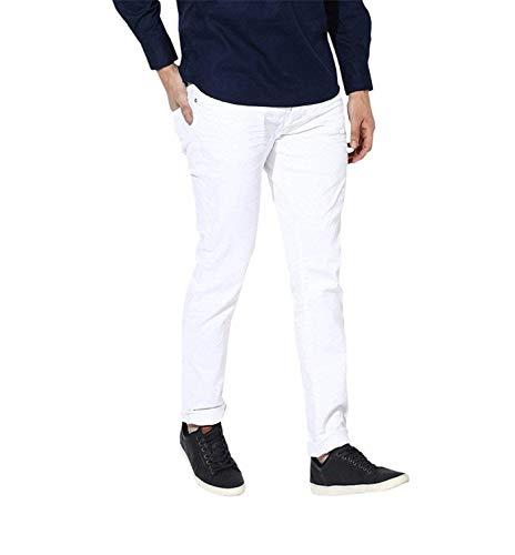 Meoby Men's Slim Fit Cotton Streachable White Jeans