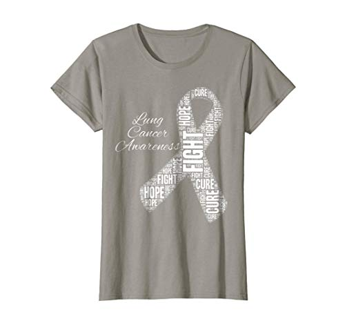 Womens Lung Cancer Awareness T Shirt Fight Hope Cure white Ribbon XL Slate
