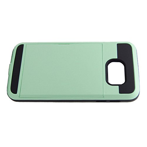 Telefon-Kasten - SODIAL(R)Karte Tasche Stossfeste Duenne Hybrid Mappe Abdeckung fuer Samsung Galaxy S7 Edge MintGruen