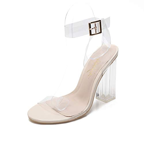 Clear Plastic Shoes - MACKIN J G349-1 Transparent Open Toe Ankle Strappy Block Chunky Heel Sandals with TPU Clear Plastic (11, Nude)