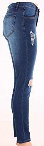 Elasticizzato Donna Blau color Vita Alta Jeans Pantaloni Strappato A Denim Skinny Tasche Size Fashion 44 Giovane Matita Saoye Con Esterne xATEnwq01a
