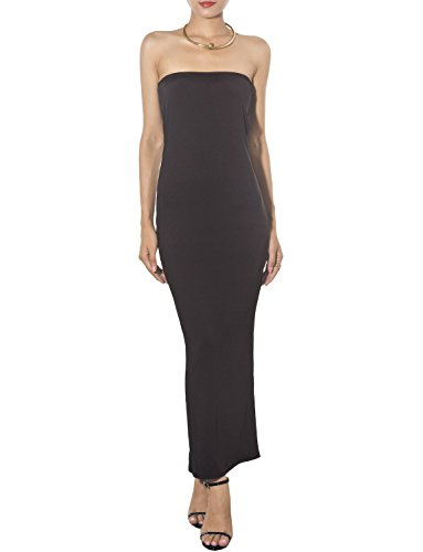 Ip Tube - iB-iP Women's Bare Shoulder Stretch Tube Slim Fit Bodycon Maxi Strapless Dress, Size: M, Black
