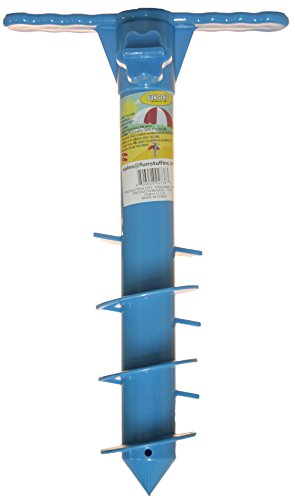 Necessities Gift - 16 Inch Plastic Beach Umbrella/ Tent/ Fishing Pole Anchor Sand Screw (Blue)