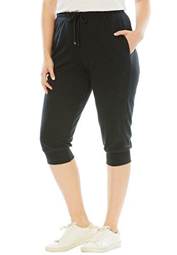 Roamans Women's Plus Size Drawstring Knit Capris Black,1X (Knit Pants Sleek)
