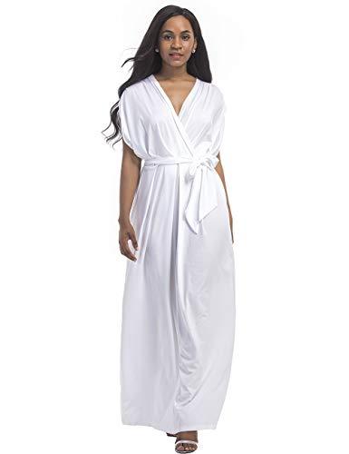 Batwing Belt (Rela Bota Women Plus Size V Neck Batwing Sleeve Casual Maxi Dress with Belt White L)