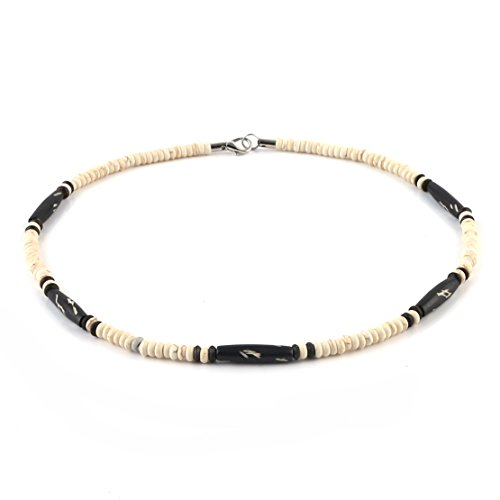HZMAN Buffalo Bone Native American Inspired Tribal Style Collar Choker Necklace (Native American Inspired Necklace)