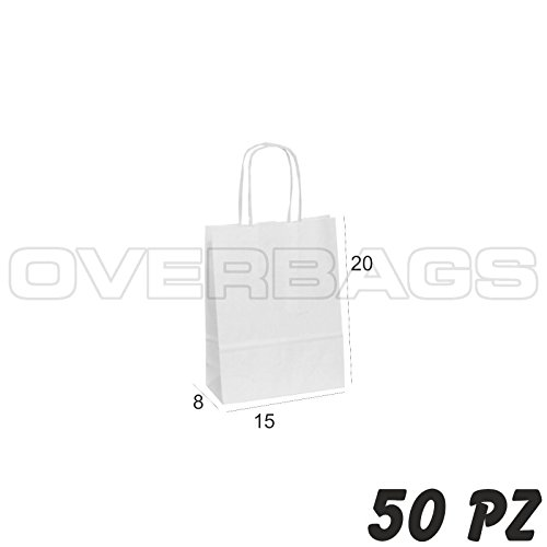 OverBags - 50 PZ BORSA SHOPPER SACCHETTO IN CARTA BIANCA 15X8X20 MANICI RITORTI