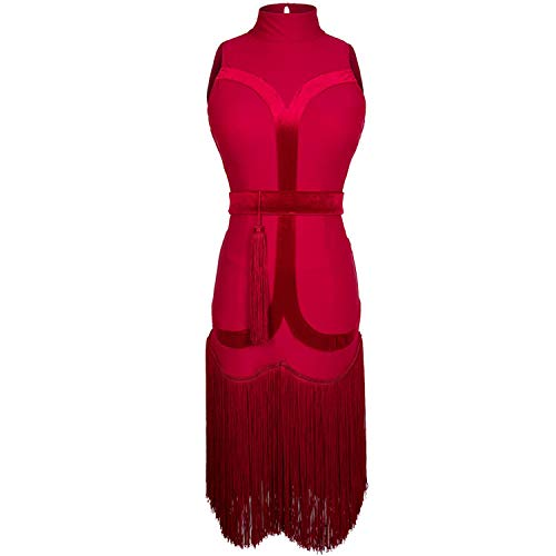 Latin Dance Dress Women Sexy Hollow Fringe Dresses Cha Cha Tango Samba Rumba Practice Wear Tassel Performance Clothes DC1499,RED Wine,XL (Subscription Model Best Practices)