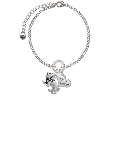 Silvertone 3-D Lion Godmother You Are Loved Circle Bracelet, 8