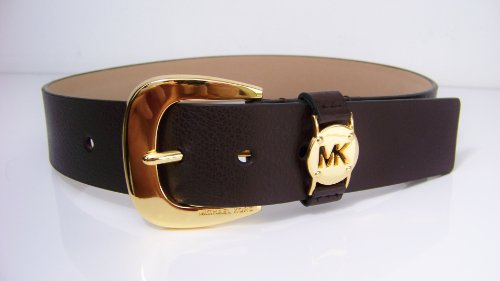 Michael Kors Mk Western Signature Logo Gold Buckle Brown Belt Size Large