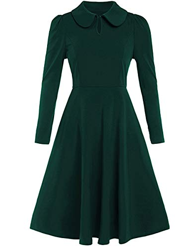 (Romwe Women's Vintage 1950s Retro Collared Long Sleeve Fit and Flare Swing Party Dress Green M)