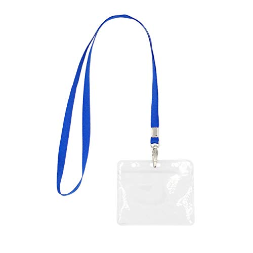- 5 Pack Lanyard with Clear Plastic Horizontal ID Badge Holder, Name Tag Holder with Lanyard Set
