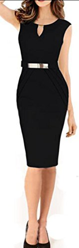 Women Hollow Dresses Midi Sleeveless amp;H C Out Black Booty Sexy Elegant Slim Pencil 5HSOqUC