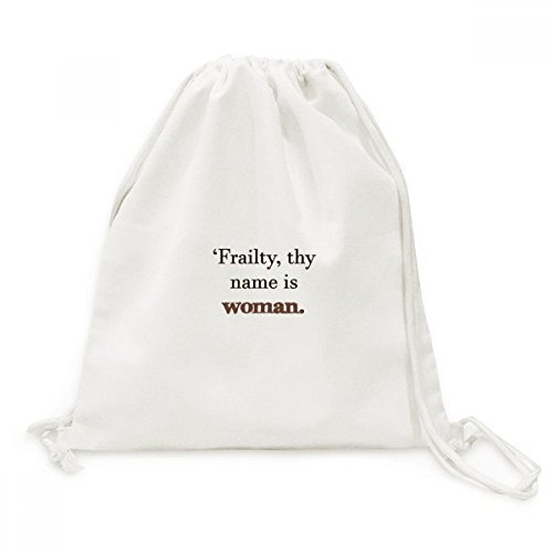 Frailty Names Woman Shakespeare Canvas Drawstring Backpack Travel Shopping Bags