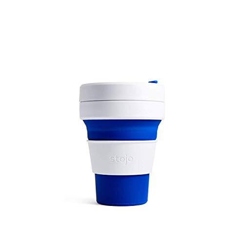 Stojo Collapsible Cup, Silicone, Travel Mug, Reusable, Leak Proof Lid, 12 oz, Blue
