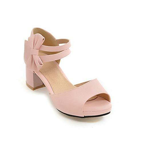 OTOSU Women's Peep Toe Block Heel Platform Sandals Ankle Strap Bowtie Leather Party Dress Sandal Pumps Pink Cone Heel Ankle Strap Platform