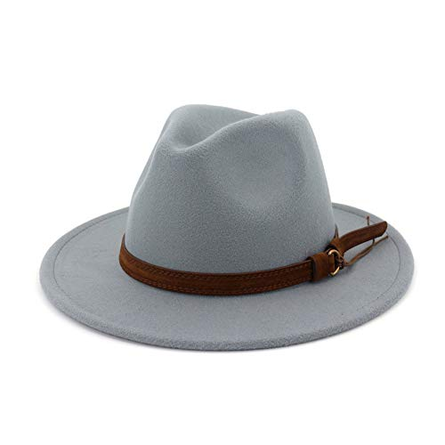 Lisianthus Men & Women Vintage Wide Brim Fedora Hat with Belt Buckle Light Grey - Fedora Old