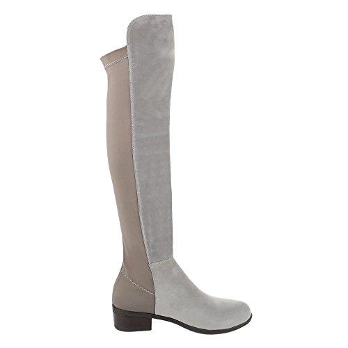 Ital-Design - botas clásicas Mujer Grau Braun